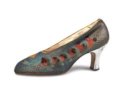 1920s Stewart & Co.  Evening iridescent multi-color brocade shoes with silver heels.