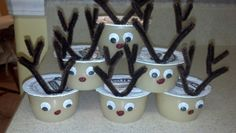 Applesauce Rudolph -perfect for a class snack School Holiday Party, Christmas Snacks, Holiday Fun, Christmas Holidays, School Parties, Xmas Party, Christmas Decor, Class Snacks, Navidad