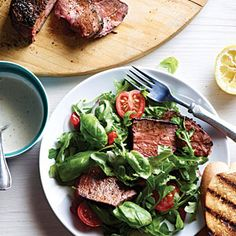 Ranch Steak Salad. Easy to convert to most MRC programs. Use Ranch dressing from your cookbook or Walden Farms. If your menu does not have red peppers, you could use another vegetable or omit. #weightlossrecipes