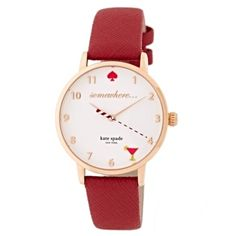 ✨NWT✨ Kate Spade 5 O'Clock Somewhere  Metro Watch NWT! Authentic Kate Spade 5 o'clock somewhere metro watch. Genuine leather burgundy band. Rose gold stainless steel dial. Cute cocktail at the 5 o'clock hour. Comes with KS box and care booklet. ***No Trades*** kate spade Accessories Watches