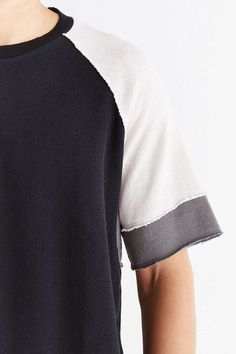 BDG Colorblocked Raw Edge Short-Sleeve Sweatshirt