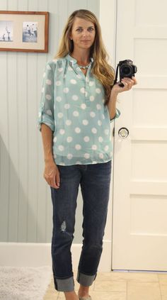 mint polka dot top (stitch fix) and boyfriend jeans with a stella & dot necklace. Love this whole outfit, colors, too!