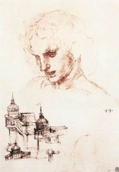 Study of an Apostle's Head and Architectural Study - Leonardo da Vinci.  1494-98.  Red chalk, pen and ink on paper.  252 x 172 mm.  Royal Library, Windsor, UK.