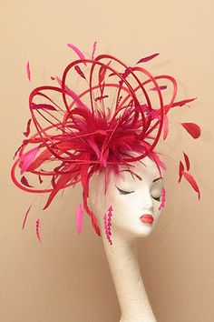 Turquoise /& Hot Pink Fascinator Hat//Choose any satin//highlight feather colour