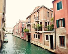 italy photography venice italy pink decor blue decor canal architecture europe photograph Hello Venezia V12 by eireanneilis