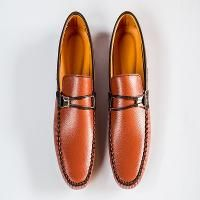 Brown loafers with rubber sole