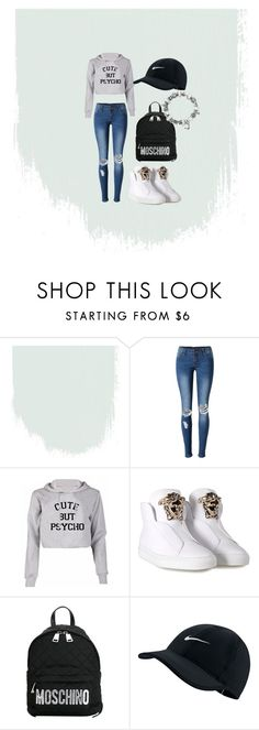 A fashion look from January 2017 featuring short crop tops, slim ripped jeans and leather high tops. Browse and shop related looks. Crop Top And Shorts, Crop Tops, Leather High Tops, Ripped Jeans, Moschino, Versace, Fashion Looks, Shoe Bag, Nike