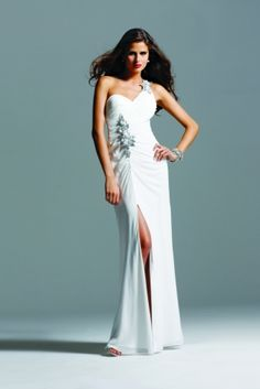 Faviana Style 6550  ONE SHOULDER BEADED CHIFFON DRESS   WORN AT THE 2010 GOLDEN GLOBES