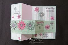 Grateful Bunch, Double Z Fold Card, Stampin Up, Birthday Blossoms