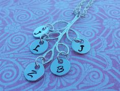 Custom made metal stamped jewelry - family tree, initials, children, grandchildren, charm, necklace - https://www.etsy.com/listing/179610384/custom-made-metal-stamped-jewelry-the