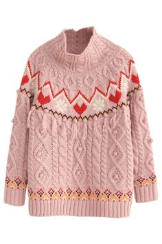 Sweet Long-Sleeves Geo Print Cable Knit Sweater