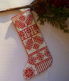 Nordic Folkart Redwork Embroidered Linen by CherieWheeler on Etsy Cross Stitch Christmas Stockings, Cross Stitch Stocking, Christmas Stocking Pattern, Xmas Cross Stitch, Xmas Stockings, Christmas Cross, Christmas Diy, Christmas Ornaments, Christmas Embroidery