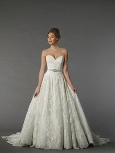 Sweetheart A-Line Wedding Dress  with Natural Waist in Lace. Bridal Gown Style Number:33024431