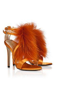 STYLEBOP.com   Mango Fur Trimmed Satin Sandals von EMILIO PUCCI   Die heißesten Trends aus den Metropolen der Welt