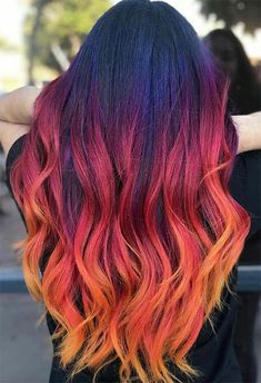 55 Glorious Sunset Hair Color Ideas for True Romantics - Glowsly color 55 Glorious Sunset Hair Color Ideas for True Romantics Vivid Hair Color, Cute Hair Colors, Pretty Hair Color, Hair Dye Colors, Hair Color Shades, Fire Hair Color, Fire Ombre Hair, Long Hair Colors, Amazing Hair Color