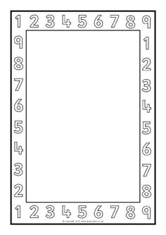 Number Page Borders – Black and White Page Boarders, Boarders And Frames, Math Border, Harmony Day, Math Pages, Border Templates, Math Charts, Class Displays, Simple Borders