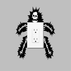 Funny Outlet or Light Switch Wall Decal Sticker - Electrocuted Guy Outlet Sticker Design - Funny Wall Decor for Light Switches | Primedecals