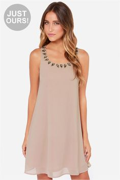 LULUS+Exclusive+Bead+Me+Up+Beaded+Taupe+Dress+at+LuLus.com!