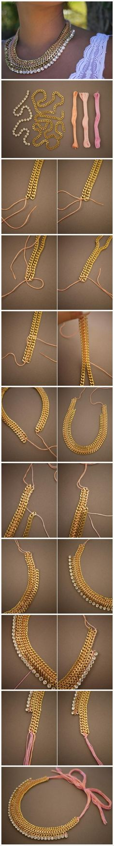 DIY ::: Chain and crystal bib necklace