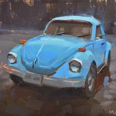 "Daily Paintworks - ""Blue Bug"" - Original Fine Art for Sale - © Carol Marine dekupaj Daily Paintworks - Original Fine Art © Carol Marine Volkswagen, Pictures Of Rocks, Fine Art Auctions, Car Painting, Plein Air, Old Trucks, Fine Art Gallery, Old Cars, Trains"
