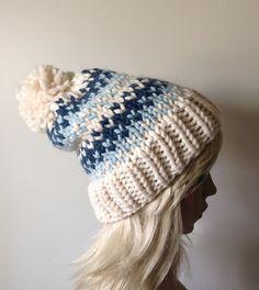 Slouchy Knit Hat Women's Beanie Pom Pom Hat Fair Isle by ellinell