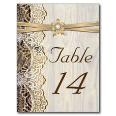 Lace, ribbon, flower & wood wedding table number postcards