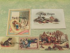 Lot of five vintage antique Victorian Happy Christmas greeting cards farm cows skaters cat kitten by BigGDesigns on Etsy