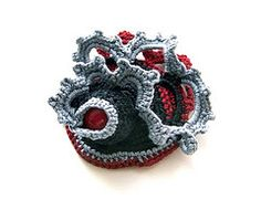 Grey Black Red crochet freeform brooch with red coral bead by Jane Bo