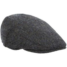 Failsworth Herringbone Harris Tweed Flat Cap ($39) ❤ liked on Polyvore featuring men's fashion, men's accessories and men's hats