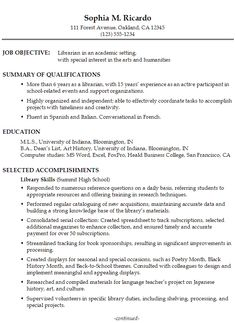 Functional Resume Sample Academic Librarian