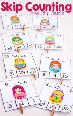 These super cute matryoshka free printable skip counting clip cards are a great… Math Classroom, Kindergarten Math, Teaching Math, Math Stations, Math Centers, Math Activities, Skip Counting Activities, Skip Counting By 2, Math Games