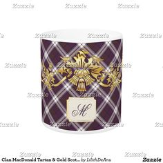 Clan MacDonald Tartan & Gold Scottish Thistles #3 Coffee Mug