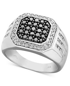 Men's Black and White Diamond Square Ring in Sterling Silver (1 ct. t.w.) | macys.com