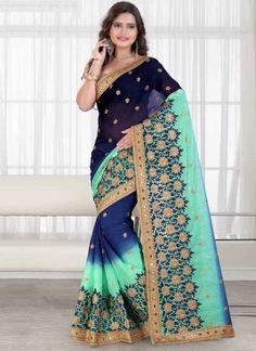 Green Blue Embroidery Booti Work Fancy Chinon Designer Wedding Sarees Online http://www.angelnx.com/Sarees/Wedding-Sarees