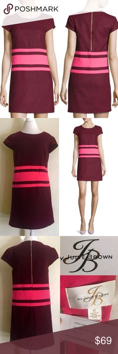 """NWT Julie Brown 'Allora' Striped Wine & Pink Dress 💕❤💕❤NWT Julie Brown 'Allora' Cap-Sleeve Striped Wine/Hot Pink Shift Dress Paid $188 new but never wore it! 😜 Size: 10  Round Neckline, cap sleeves, straight hem, exposed back zip. Measures: L (shoulder to hem): 36"""", C: 19.5"""", W: 19.5"""", H: 22"""" Thick, almost felt-style fabric – it will definitely keep you nice & warm! Bundle for discount💕Please ask Qs before purchase!🤗 Julie Brown Dresses"""