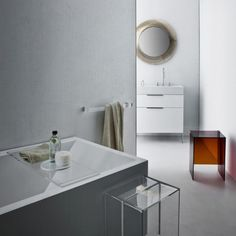 the unique collaboration brings together the material essence of kartell and its innovations with polycarbonate furniture; and swiss specialist LAUFEN for its expertise in ceramic bathroom pieces.