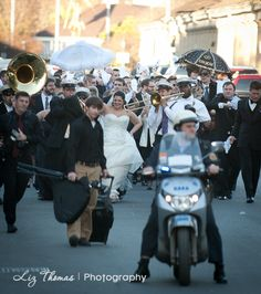 Second Line wedding parade, French Quarter, Decatur St, New Orleans