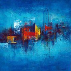 Skyline Painting, Cityscape Art, City Painting, Abstract Landscape Painting, Abstract Canvas Art, Landscape Art, Colorful Paintings, Contemporary Paintings, Art En Ligne