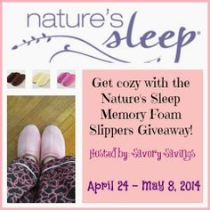Nature's Sleep Memory Foam Slippers #Giveaway For many, there is nothing better than coming home from work and changing into a comfy, cozy outfit (i.e. yoga pants and a tshirt - anyone with me on that?) - the best way to complete your cozy ensemble is with a pair of comfortable slippers!