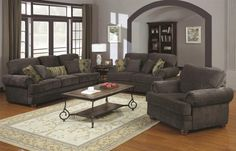 CO504401 Enrique Traditional Style Smokey Grey Chenille Sofa + Loveseat
