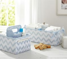 Blue Chevron Dot Canvas Nursery Storage