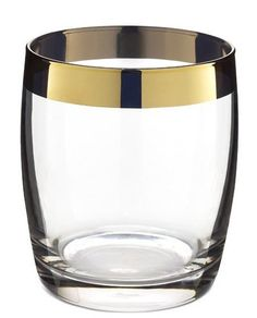 Gold Rim Double Old Fashioned Glass