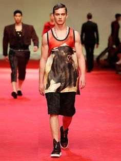 Bull-print cotton vest