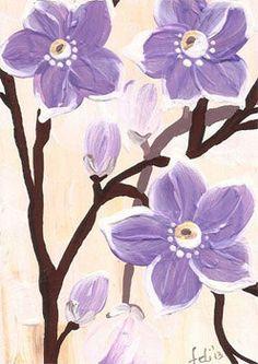 Purple Flowers  ACEO ORIGINAL  flower original by FELICITATEM, $3.00