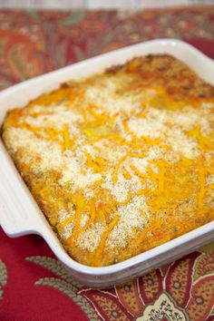 Yellow squash casserole, much loved by Southerners! From the Plain Chicken blog.