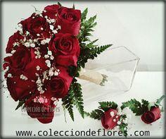 Ramo de Novia rosas rojas y boutonnieres de Colección de Flores - Tienda online - www.colecciondeflores.com