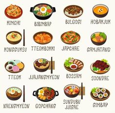 Gimbap, Tteokbokki, Korean Street Food, Food Cartoon, Korean Dishes, Korean Words, Bulgogi, Learn Korean, Korean Language