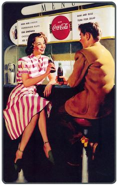At the soda fountain having a Coca Cola - vintage ad Vintage Coca Cola, Pub Vintage, Coca Cola Poster, Coca Cola Ad, Pepsi, Pin Ups Vintage, Comic Style, Coke Ad, Sodas