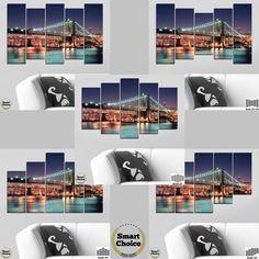 Атрактивна #декорация за стена от 5 различни по големина части с градски мотив - нощен изглед от Бруклинския мост, един от най-старите въжени мостове в света, свързващ #Бруклин #НюЙорк с #Манхатън.