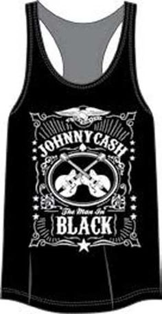 d9da1aff Johnny Cash- The Man In Black Label on a black girls racerback tank shirt